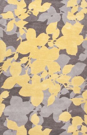 Jaipur Floral Rugs Blue Yellow 14519