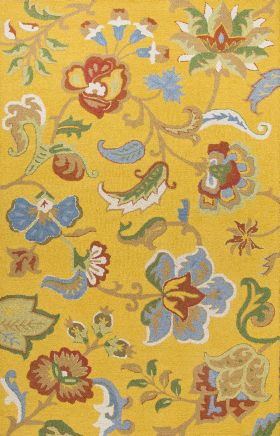 Jaipur Floral Rugs Hacienda Yellow 14838