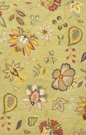 Jaipur Floral Rugs Hacienda Green 14842