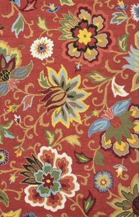 Jaipur Floral Rugs Hacienda Red 14847