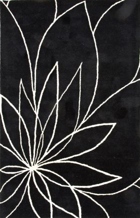Jaipur Floral Rugs Traverse Black 15256