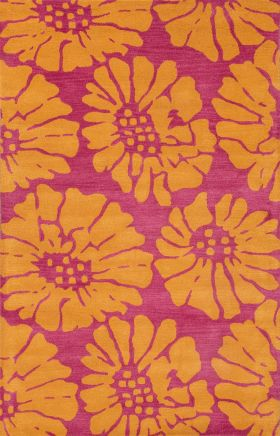 Jaipur Floral Rugs Traverse Orange 15269