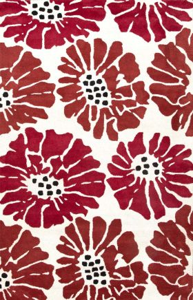 Jaipur Floral Rugs Traverse Red 15273