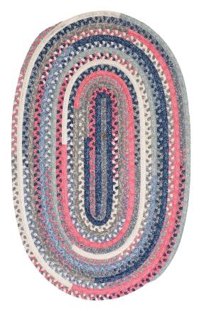 Colonial Mills Braided Rugs Print Party Ovals Blue 15576